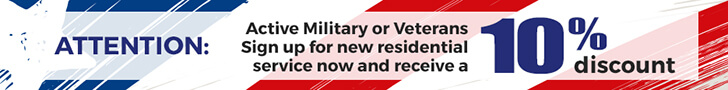 Attention: Active Military or Veterans Sign up for new residential service now and receive a 10% discount